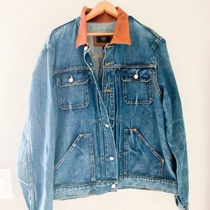 NWT Men's Frye Denim Jacket with Leather Collar